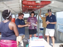 Participants collect data on a field trip during the Ocean Science Course Implementation Workshop.