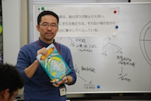 Kazuya Hirai leading a teacher workshop for fisheries high school teachers following the Japan Ocean Literacy Symposium at the Tokyo University of Marine Science and Technology.